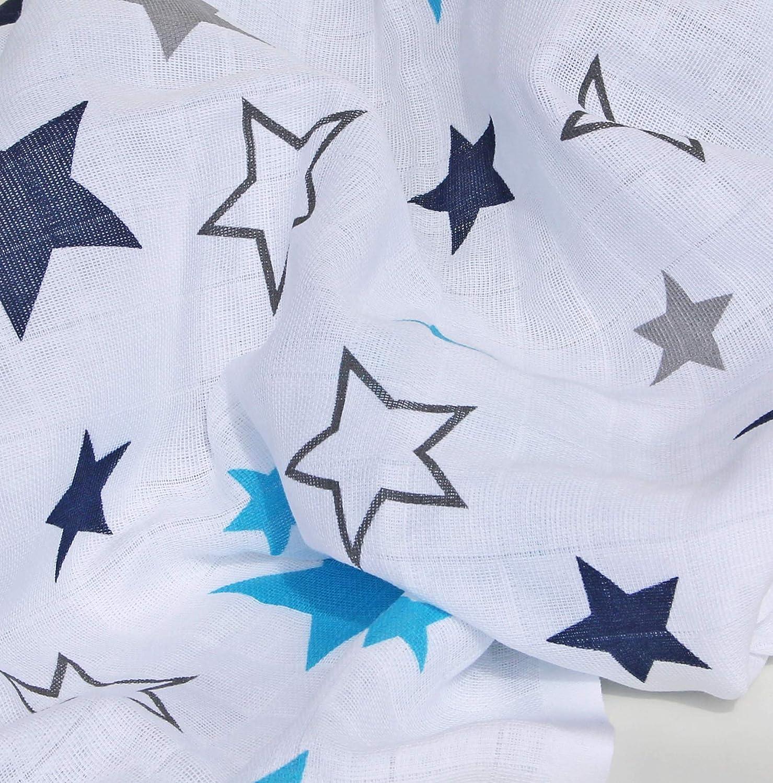 Clevere Kids Mulltücher 8er Set Sterne Aquila-Orion navy-aqua 80x80 Spucktuch