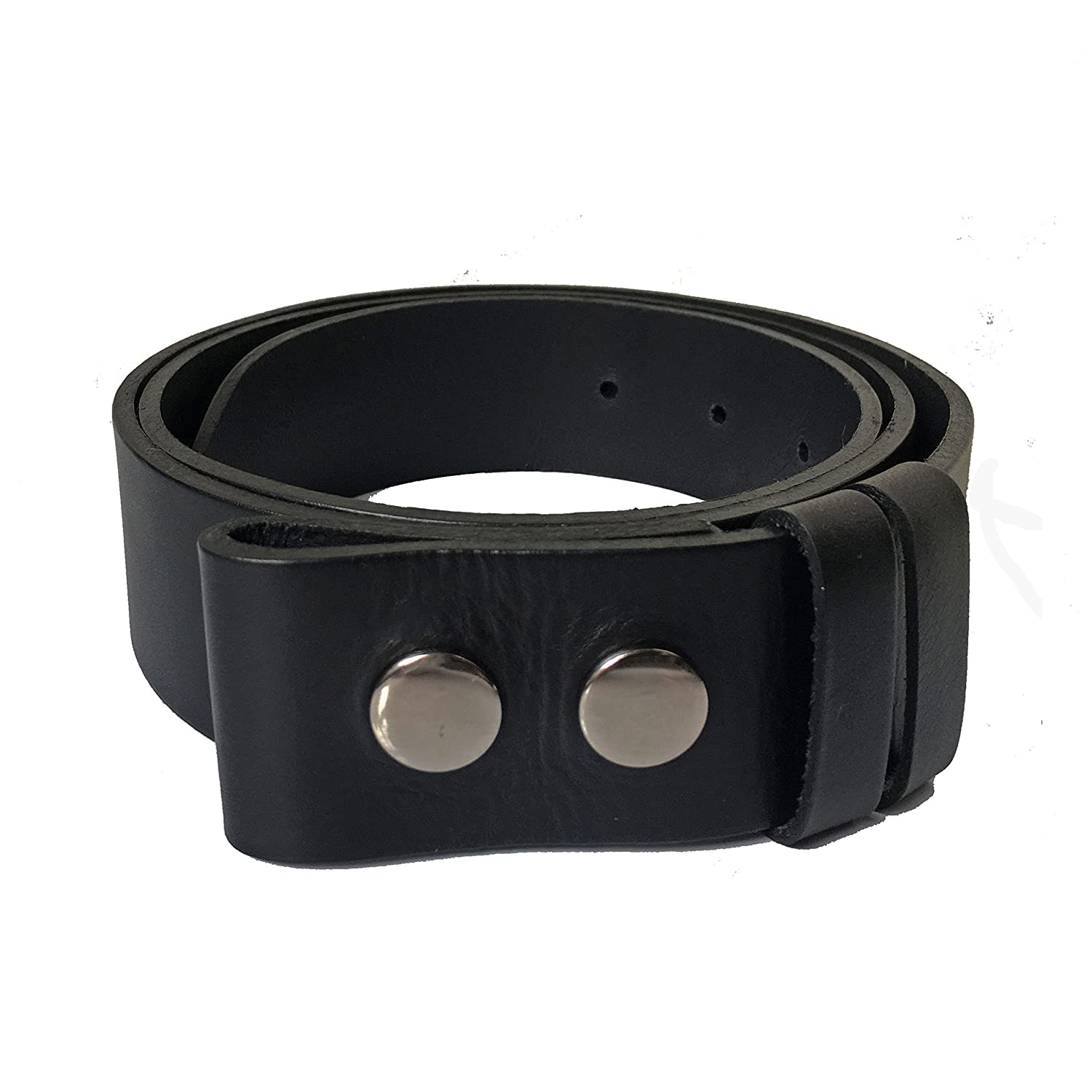Leather Belt Strap Black -1' 1/2 - Handmade in UK - Snap on Strap - Black Belt - Leather Strap - Removable Buckle - custom belt straps in all sizes