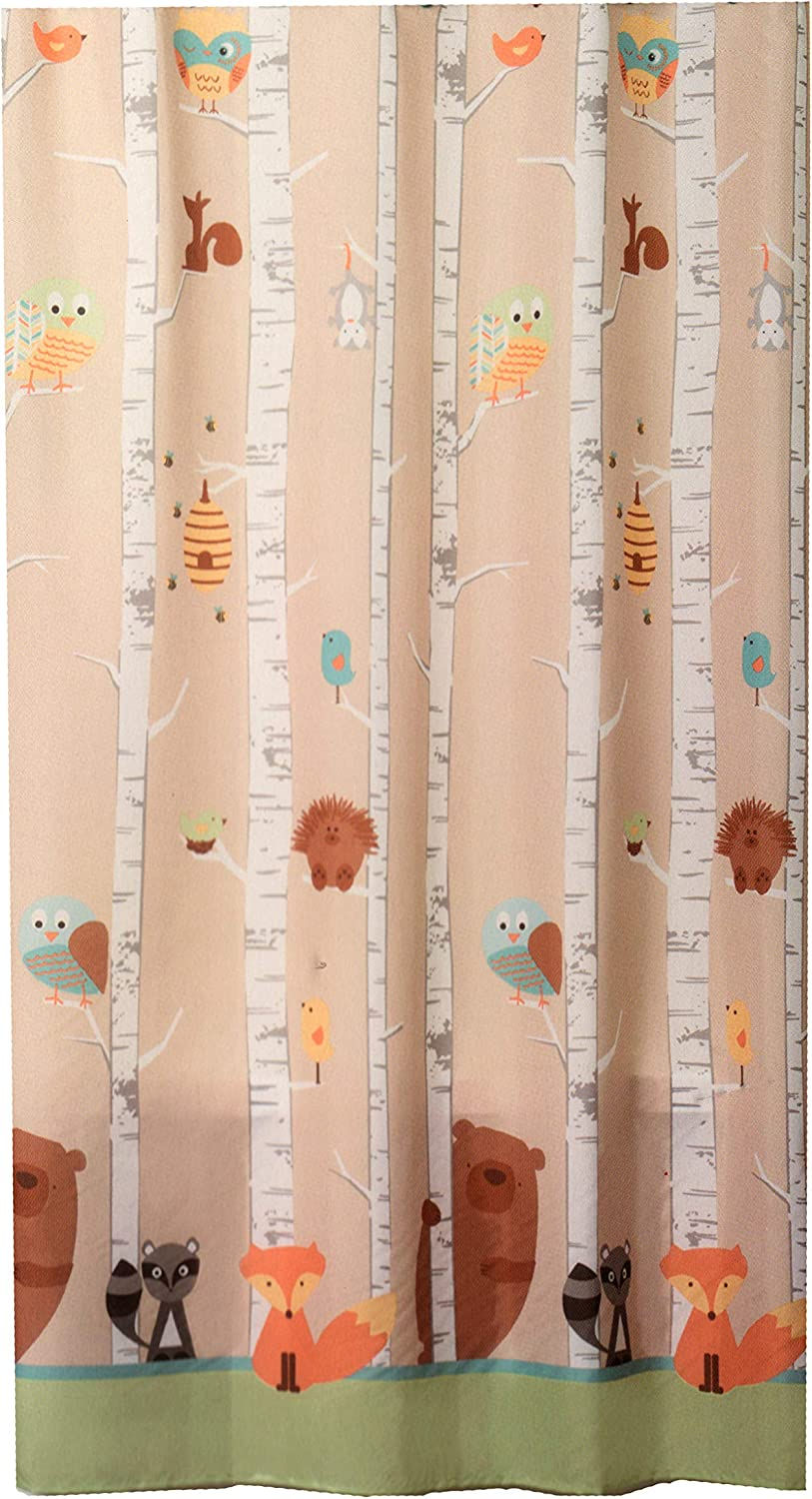 """Saturday Knight Limited Forest Friends 70"""" x 72"""" Fabric Shower Curtain Unisex Kids Bathroom Décor Woods"""