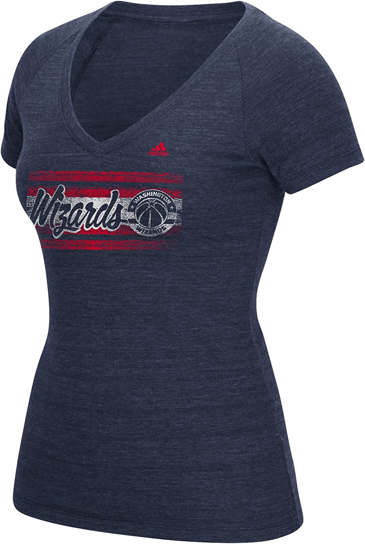 Medium NBA Washington Wizards Womens Woodgrain Stripe Tri-Blend V-Neck Tee Navy
