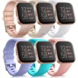 6 Pack Sport Bands Compatible with Fitbit Versa 2 / Fitbit Versa / Versa Lite / Versa SE, Classic Soft Silicone Replacement W