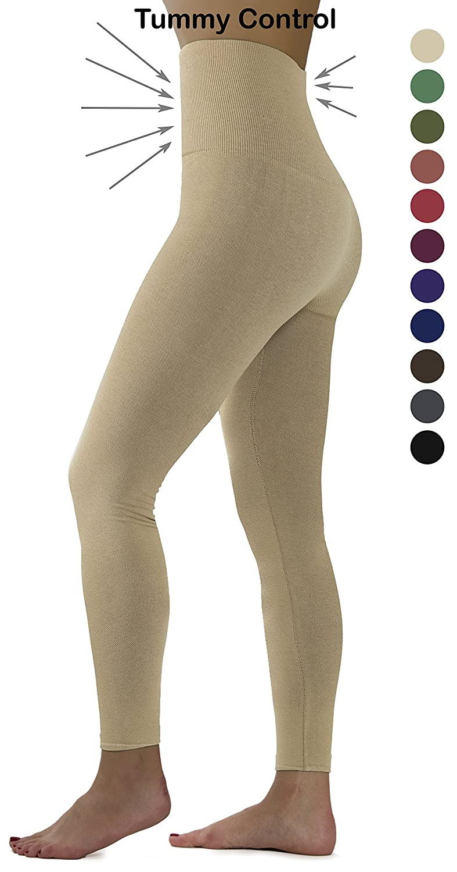 Beige Fleece Ylluo Premium Tummy Support Slimming Leggings Thick High Waist Fleece and Non Fleece