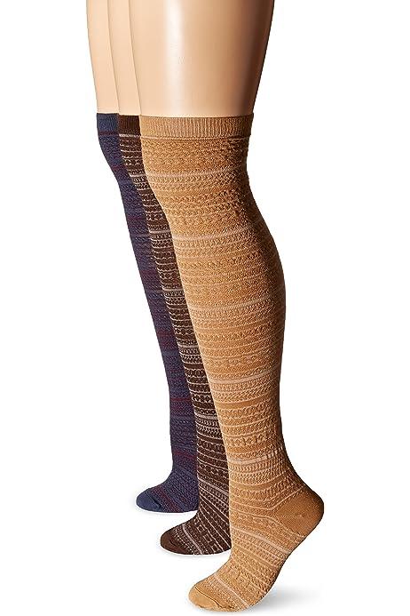 MUK LUKS Women/'s 3-Pair Microfiber Pattern Over the Knee Socks