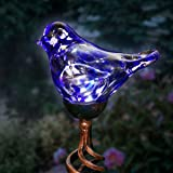 Exhart Solar Blue Hand-Blown Glass Bird Yard Stakes -Bird Garden Stake w/Solar LED Lights in Spiral Bronze Finial Design - Bi