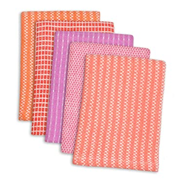 DII 100% Cotton, Ultra Absorbent, Everyday Kitchen Basic, Fun and Cute Color Dish Cloth 12 x 12, Combo Gift Set of 5- Malibu