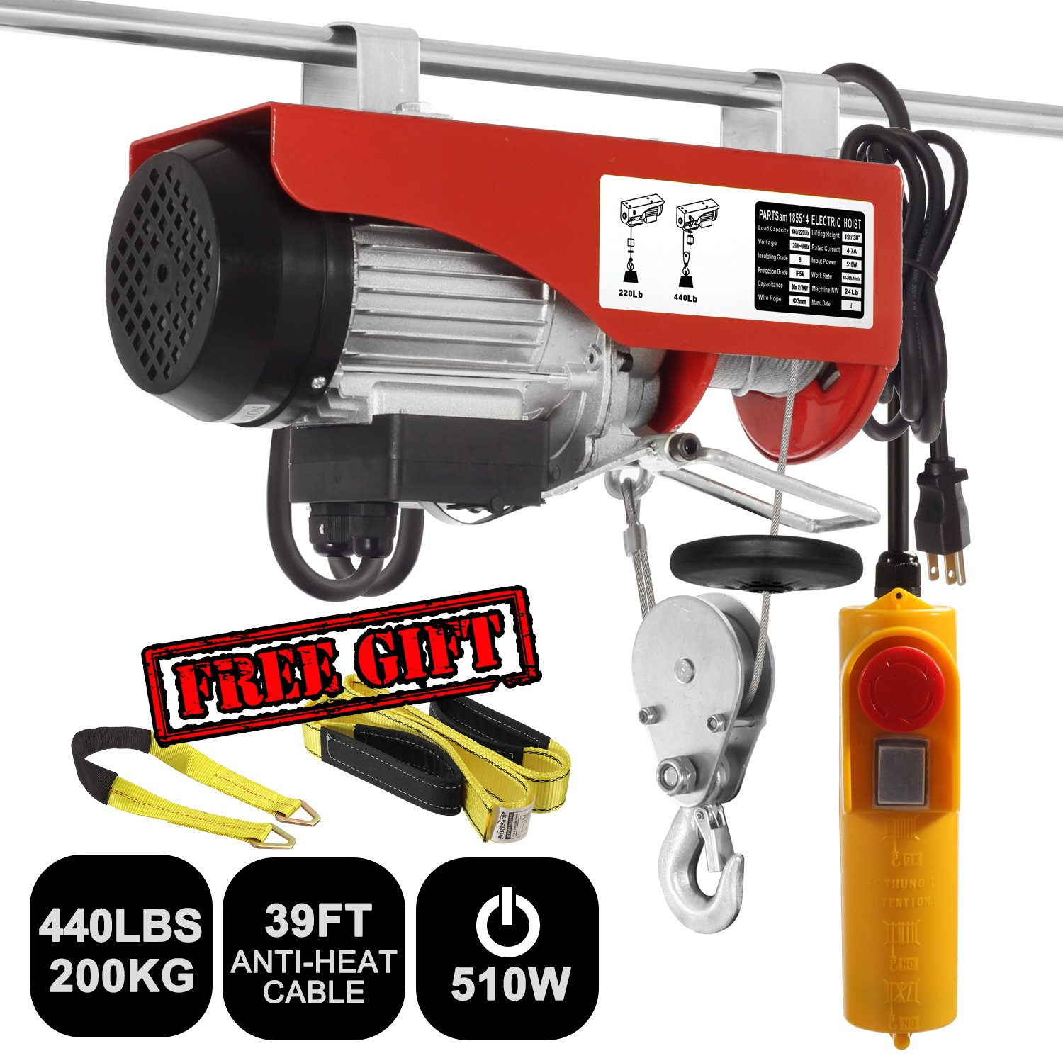 Partsam 440 lbs Lift Electric Hoist Crane Remote Control Power System, Zinc-Plated Steel Wire Overhead Crane Garage Ceiling Pulley Winch w/Premium Straps (UL/CUL Approval, w/Emergency Stop Switch) by Partsam (Image #2)
