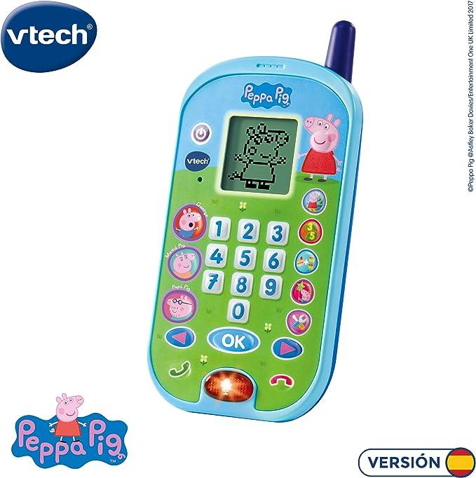 VTech - El teléfono de Peppa Pig, Móvil electrónico interactivo que simula una conversación telefónica, Voces de todos los personajes de la familia, actividades y animaciones (3480-523122): Amazon.es: Juguetes y juegos
