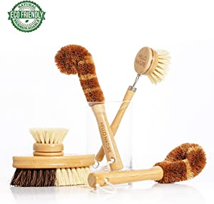 Plant-based 5pcs Kitchen Brush Set by HELLO NATURE, Biodegradable Natural Fibre Wooden Dish Brush,Bottle Brush,Pot Brush,Vegetable Brush and Replaceable Head, Eco-friendly, Plastic Free product