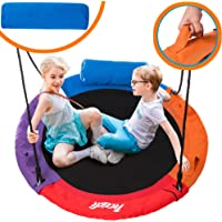 """Outdoor Round Tree Swing for Kids - 40"""" Round Saucer Swing - Large Tree Swings for Children with Hanging Kit - Heavy Duty 400 lbs Disk Swing (Dark Blue)"""