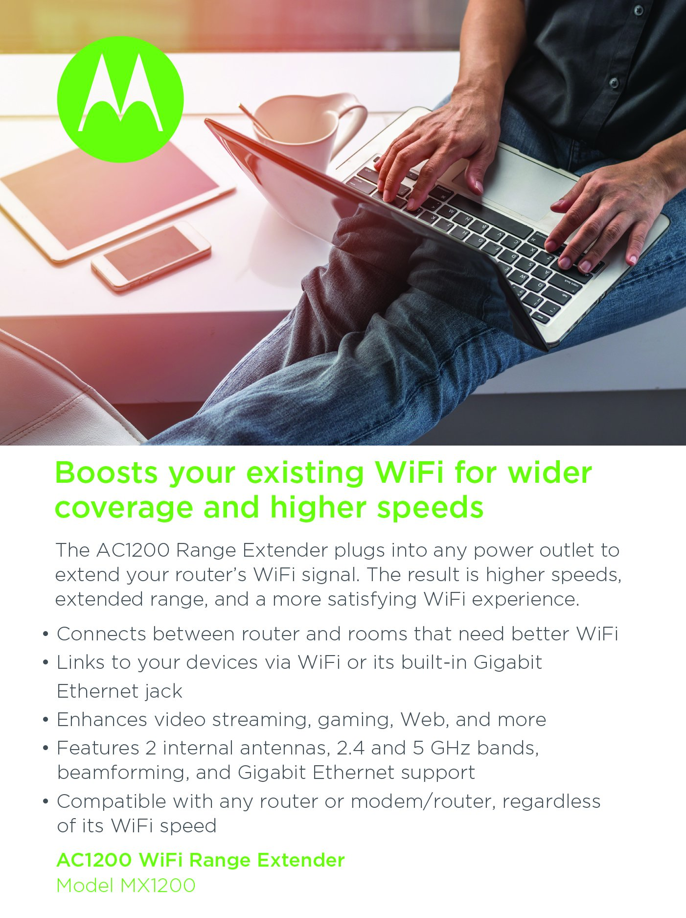 MOTOROLA AC1200 WiFi Range Extender with Gigabit Ethernet, Dual Band, Model MX1200 by Motorola (Image #5)