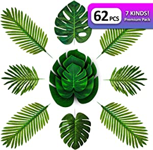 Tropicali 62 Pcs Artificial Tropical Palm Leaves Monstera Leaves for Luau Hawaiian Party Jungle Theme Decoration for Weddings Birthdays and Events Large Palm Leaves 20.5 Inch Tall Green Leaf (7 Kinds)