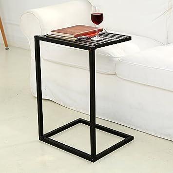 mygift slide under sofa side table metal slats snacks and laptop tray black