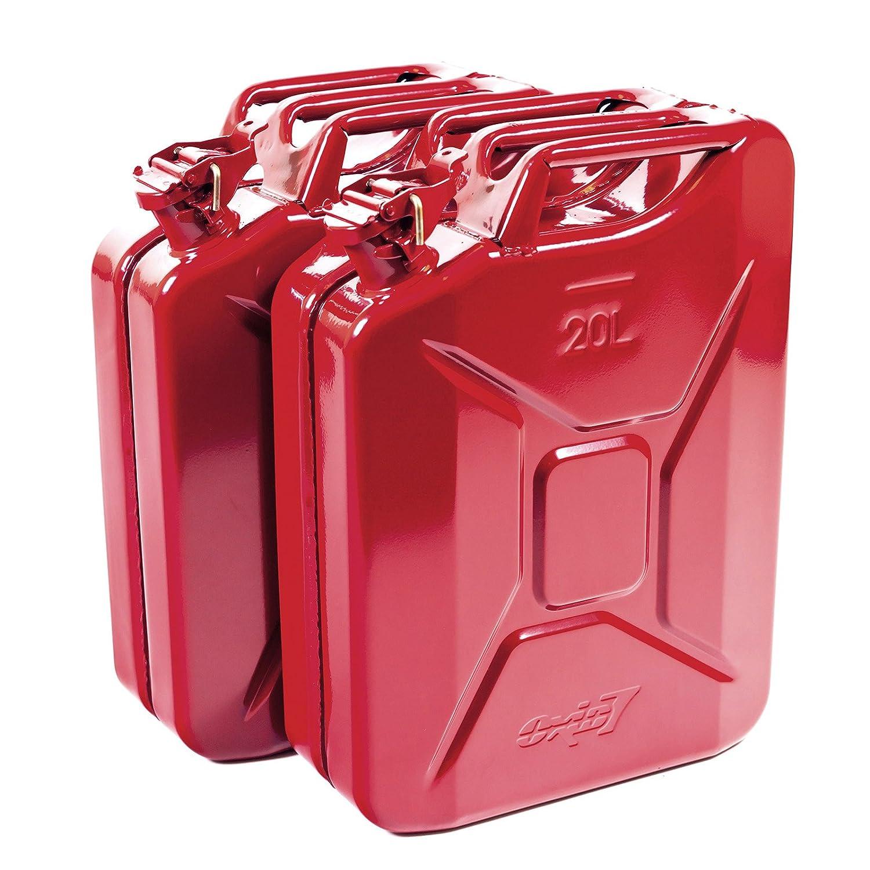 Oxid7® Ausgießer für Metall Benzinkanister Kraftstoffkanister - flexibel - Rot - aus Metall - passend für 5, 10 und 20 Liter Metallkanister