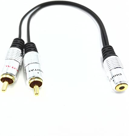 """Dual 2-RCA Female Jacks to 3.5mm 1//8/"""" Stereo Male Y Splitter Audio Cable Adapter"""