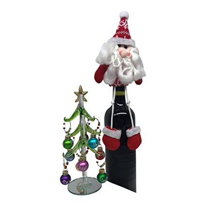 wine charm christmas tree glass tree with 9 silver glitter holiday ornaments includes santa