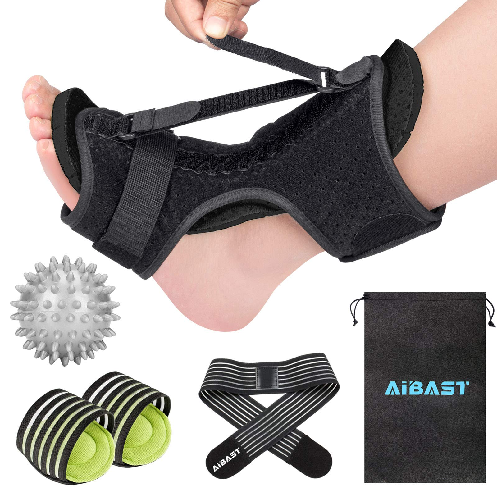 2020 New Upgraded Black Night Splint for Plantar Fascitis, AiBast Adjustable Ankle Brace Foot Drop Orthotic Brace for Plantar Fasciitis, Arch Foot Pain, Achilles Tendonitis Support for Women, Men