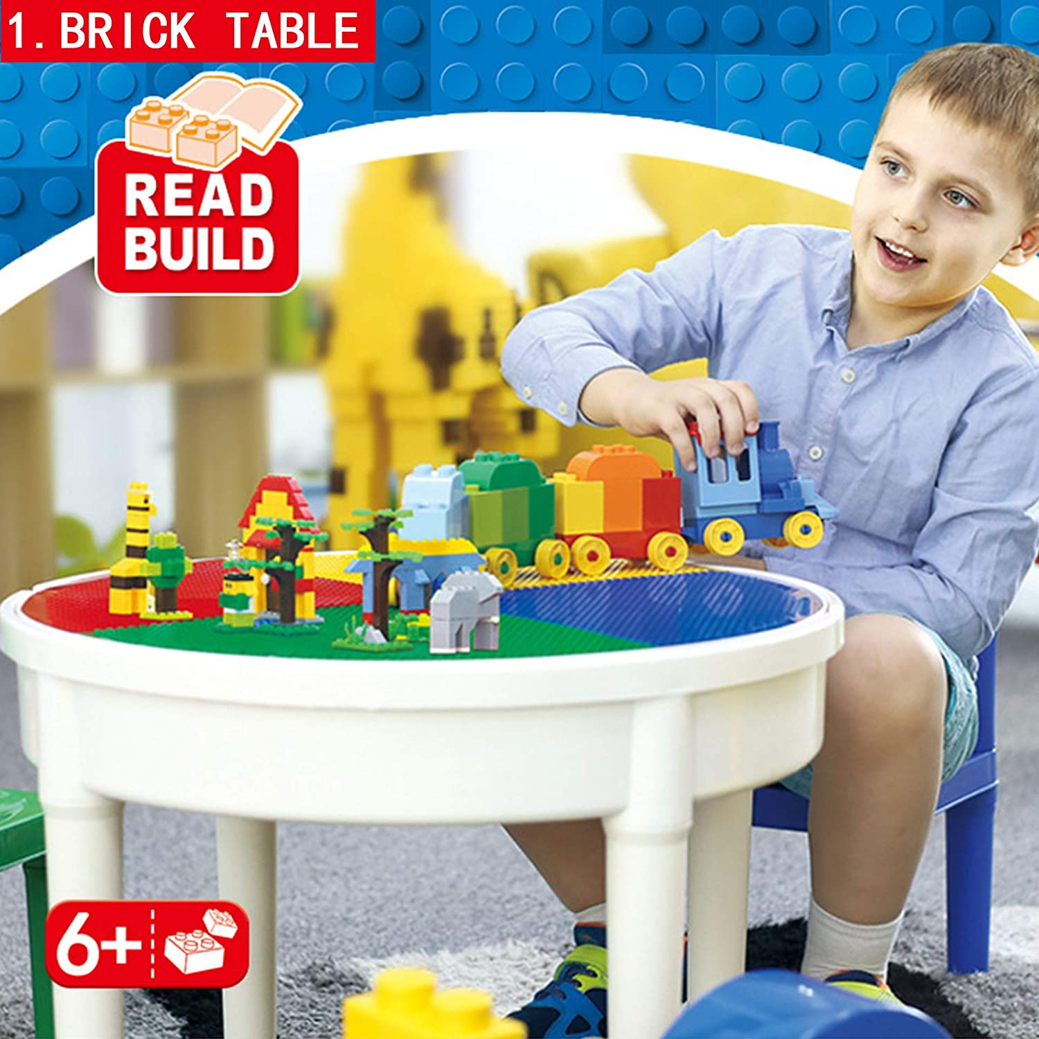 SEIGNEER Kids Table And Charis Kids Desk Activity Table 4 in 1 Water Table Craft Table Building Bricks Table