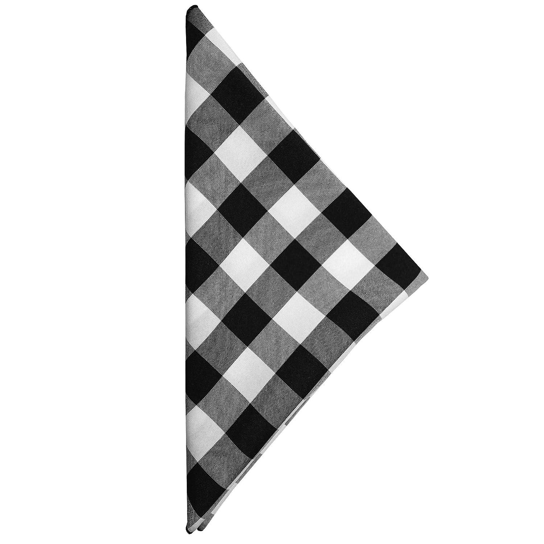 究極Textile 10 x 10-inchポリエステルチェック模様布カクテルナプキン(1ダース) 1 Dozen ブラック PCHE-10X10-230 1 Dozen ブラック&ホワイト B071SKWB5X