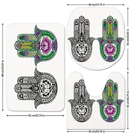 Amazon com: 3 Piece Bathroom Mat Set, Hamsa, Hand-Drawn