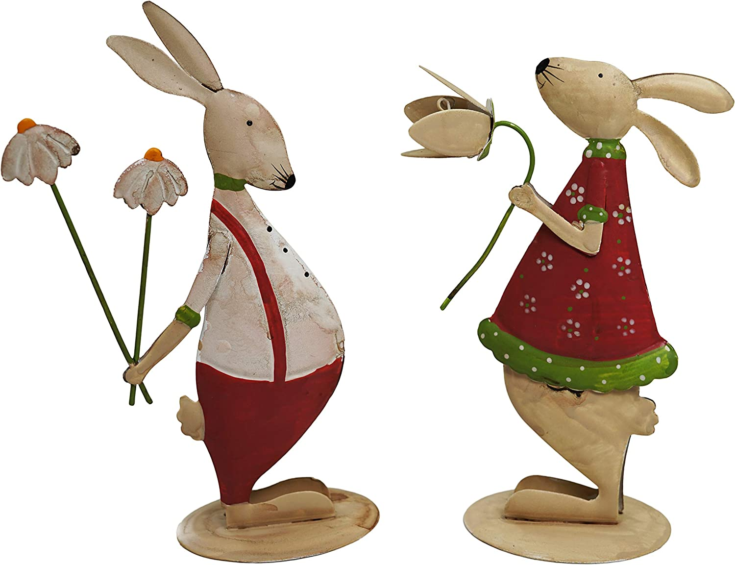 khevga Easter Bunny Decoration Indoor for Home and Table - Decorative Metal Bunny, Set of 2