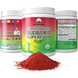 Organic Reds Superfood Powder. Best Tasting Organic Red Juice Super Food with 25+ All Natural Ingredients and Polyphenols. Vi