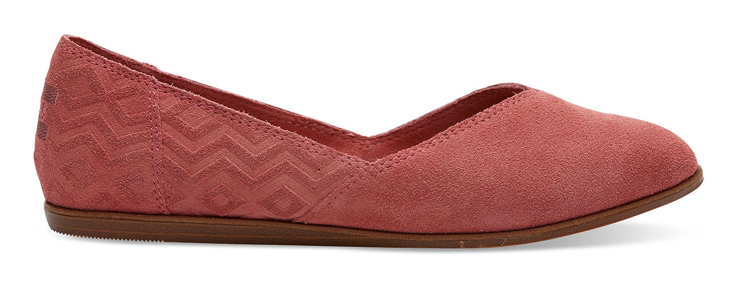 Toms Jutti Flats Faded Rose Suede Diamond Embossed 10010909 Womens 10