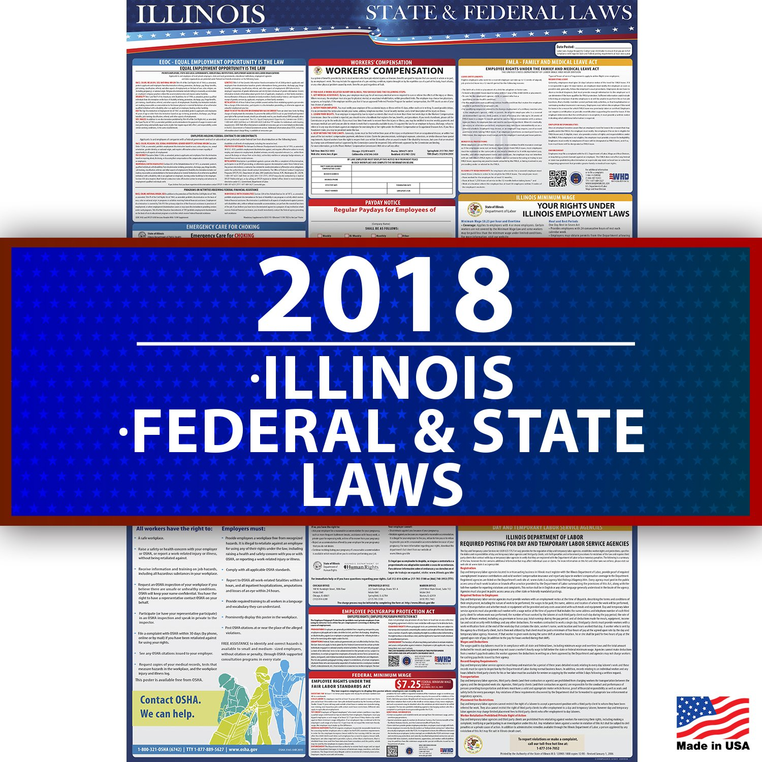 2018 Illinois State and Federal Laws Labor Poster - OSHA Workplace Compliant 36'' x 24'' - UV Coated