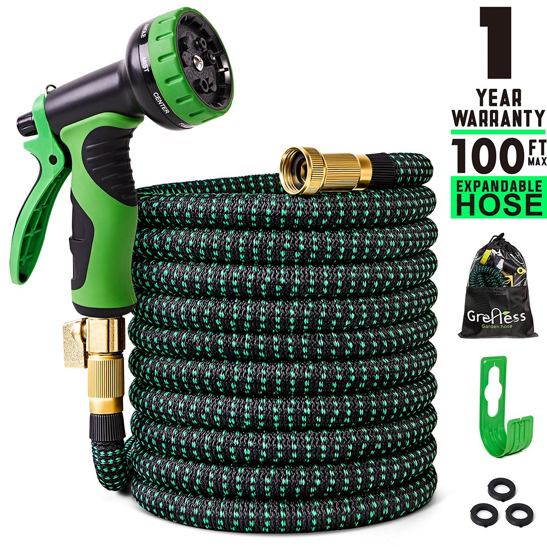 100 ft Expandable Garden Hose,Lightweight Garden Water Hose with 3/4 inch Solid Brass Fittings,Durable Outdoor Gardening Flexible Hose for Yard,Expanding Garden Hoses 9 Function Spray Nozzle