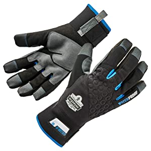 Ergodyne ProFlex 817WP Reinforced Thermal Waterproof Insulated Work Gloves, Touchscreen Capable, Black, X-Large