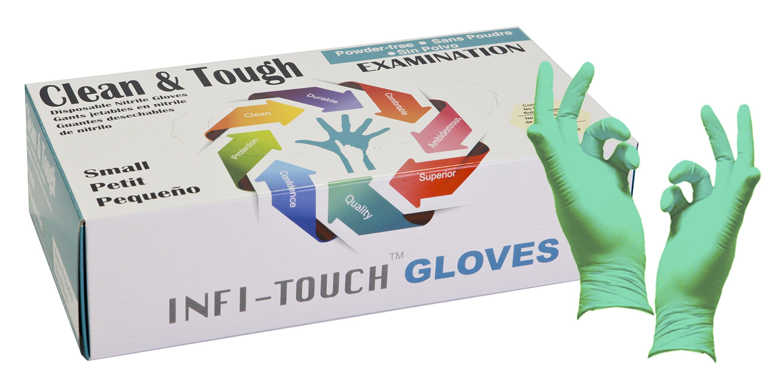 Infi-touch, Clean and Tough Examination Gloves, Powder Free and Residue Free Nitrile Gloves, Green Gloves, 9.5'' Length, Powder Free, 100 Count, SMALL by Infi-Touch (Image #1)