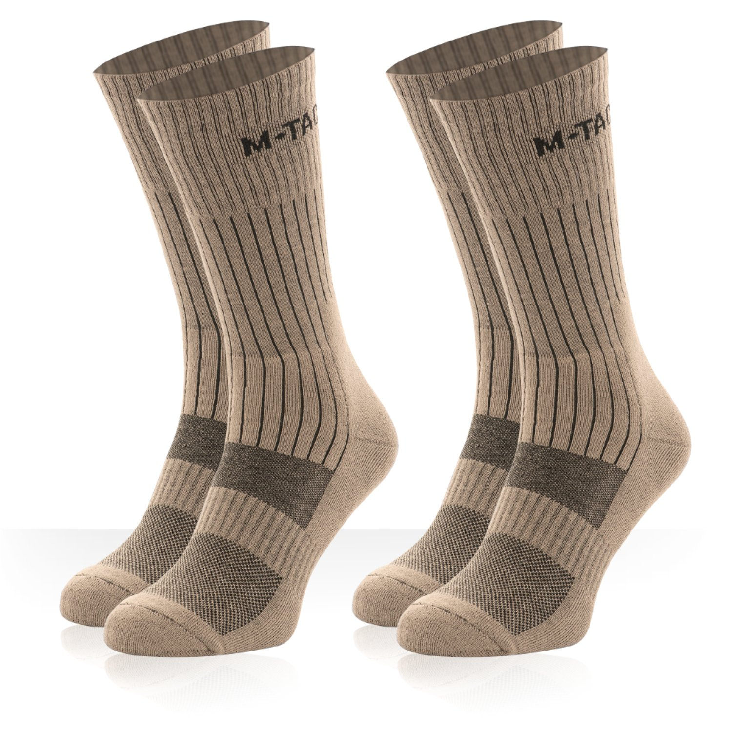 tactical socks - crew socks - military boot socks - outdoor socks - 2 pair pack (Coyote Tan 2 Pairs, Medium)