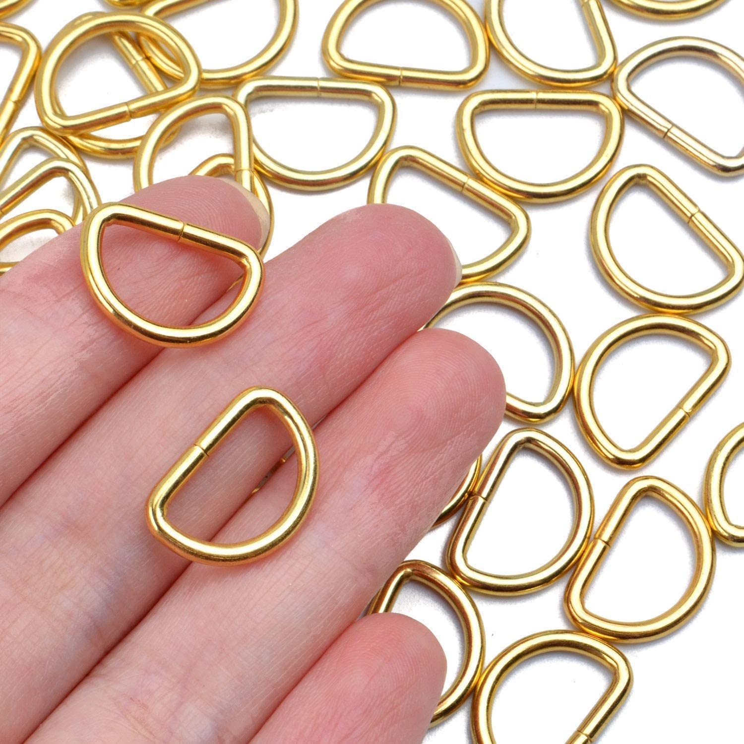 BronaGrand 100 Pieces 1//2inch Metal Non Welded Gold D Ring Buckles D-Ring Loop for Handbag Purse Clothes DIY Accessories