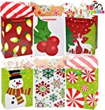 18 Christmas Gift Bags, Holiday Paper Goody Bags with Handles 9.3X