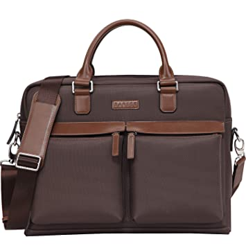 Banuce Large Capacity Waterproof Nylon Faux Leather 15.6 inch Laptop Messenger  Bag for Men Business Briefcase aa9669363e5ca