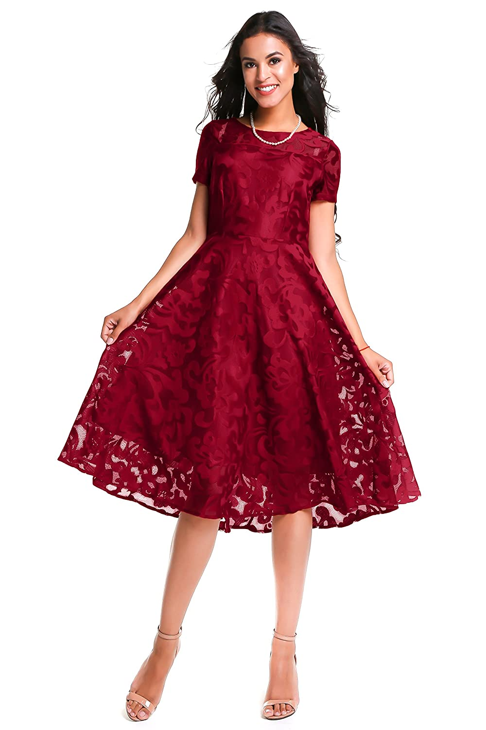 41c975a42db ELEGANT DESIGN  Semi Formal A-Line Fit And Flare Dress with Swing Skirt and  Short Floral Lace Sleeves
