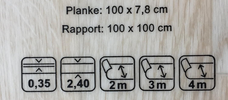 PVC Vinyl-Bodenbelag in wei/ß-beige rustikale Esche PVC-Belag verf/ügbar in der Breite 4 m /& in der L/änge 4,5 m CV-Boden wird in ben/ötigter Gr/ö/ße als Meterware geliefert rutschhemmend
