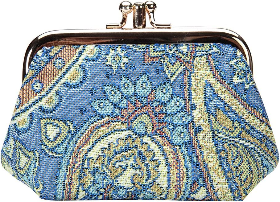 Signare Tapestry Cute Exquisite Double Pocket Kiss Lock Coin Purse for Women with Fashion Pattern Design Boutique, FRMP-BOU