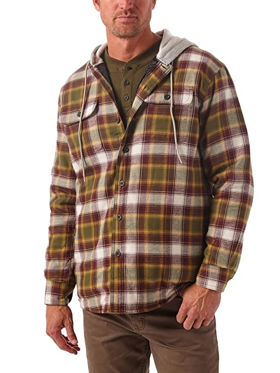 Wrangler Authentics Mens Long Sleeve Quilted Line Flannel Jacket with Hood