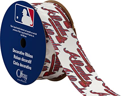 "By the Yard 1/"" Printed Atlanta Braves Baseball Grosgrain Ribbon Hair Bows Lisa"