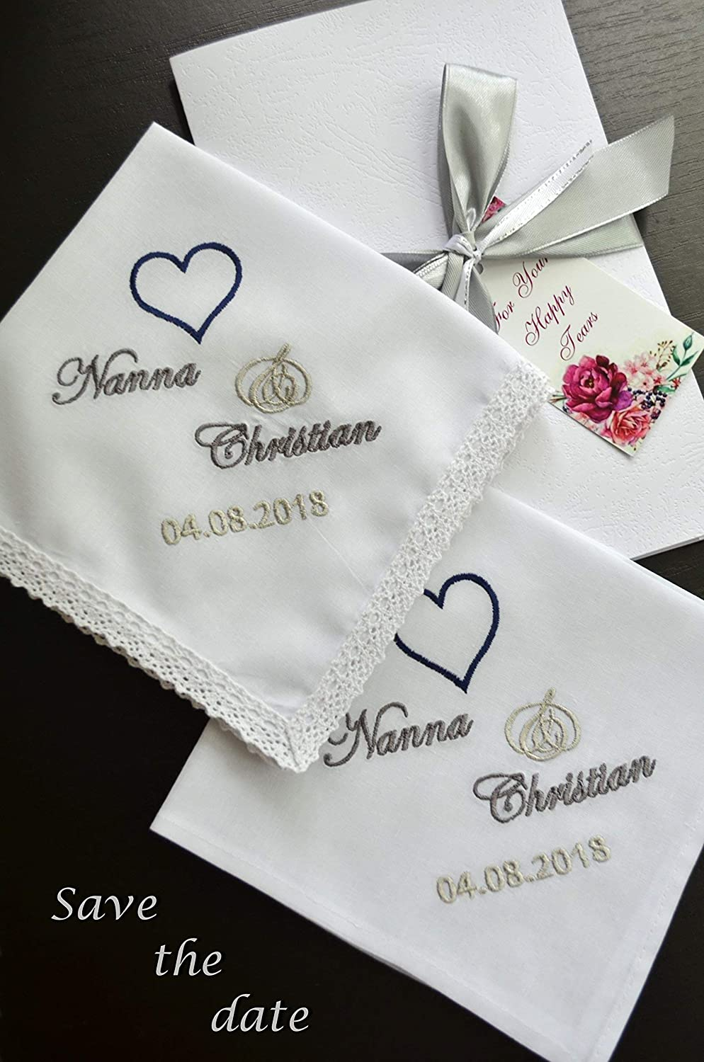 Wedding Handkerchiefs Set of 2 for parents Save the date Personalised Embroidered gift for Mom and Dad Special gift on your wedding day mother of the Bride Father of the Groom Personalized embroidered