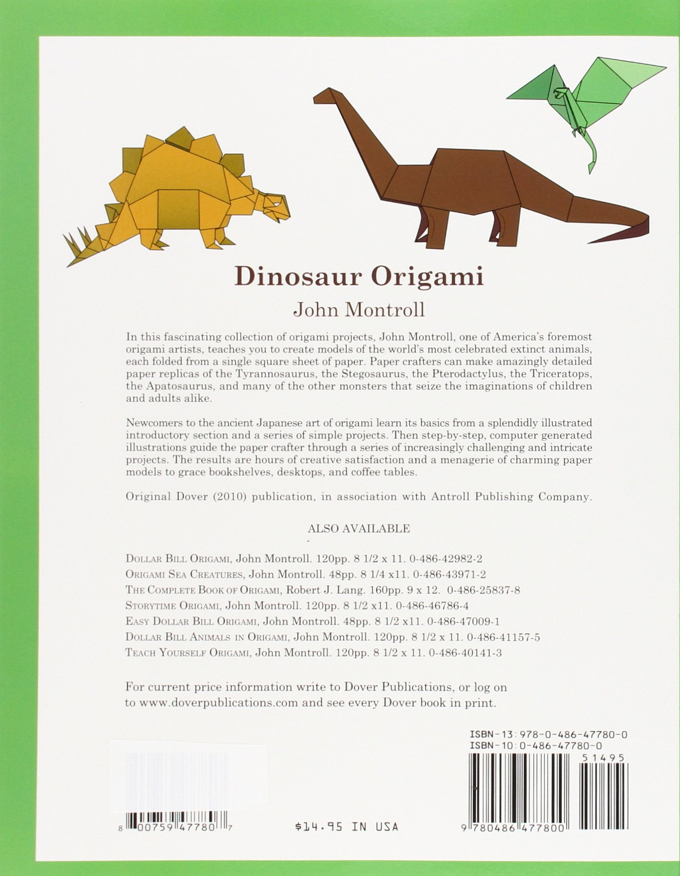 Dinosaur Origami Dover Papercraft John Montroll 0800759477807 Amazon Books