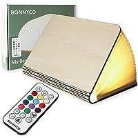 Lampara Libro Plegable de Madera con Mando, 12 Colores y Temporizador – BONNYCO   Lamparas Mesilla de Noche Ideal…