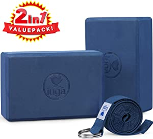 """IUGA Yoga Block 2 Pack with Yoga Strap, High Density Yoga Blocks 9""""x6""""x3""""to Improve Strength, Flexibility and Balance, Light Weight and Non-Slip Surface for Yoga, Pilates and Meditation"""