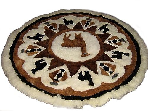 Alpakaandmore Original Peruvian Alpaca Fur Rug Round Different Sizes 170 cm 66.9