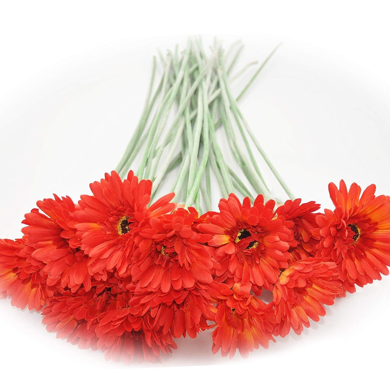 cn-Knight Artificial Flower 12pcs 22'' Long Stem Silk Daisy Faux Mums Flower Chrysanth Gerbera for Wedding Bridal Bouquet Bridesmaid Home Decor Office Baby Shower Prom Centerpiece(Orange)