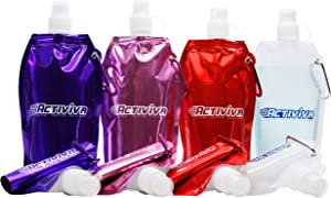 ACTIVIVA Collapsible Reusable Water Bottle with Carabiner Clip Light Weight Leak Proof Foldable Drinking Water Bottle - Non-Toxic BPA Free - 16.9 oz - 4 Pack (Broad - Pink, Purple, Red, Clear)