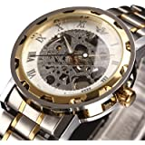 Watches,Mens Watches Classic Style Skeleton Stainless Steel Mechanical Steampunk Mechanical Watch with Link Bracelet