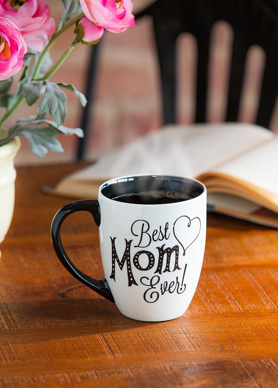 "Cypress Home Black Ink Best Mom Ever 18 oz Ceramic Cup O/' Joe Coffee Mug or Tea Cup 4/""W x 5.75/""D x 5/""H"