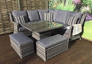 a793a968f682 Homeflair Rattan Garden Furniture Mia grey corner sofa + Dining table +2  stools