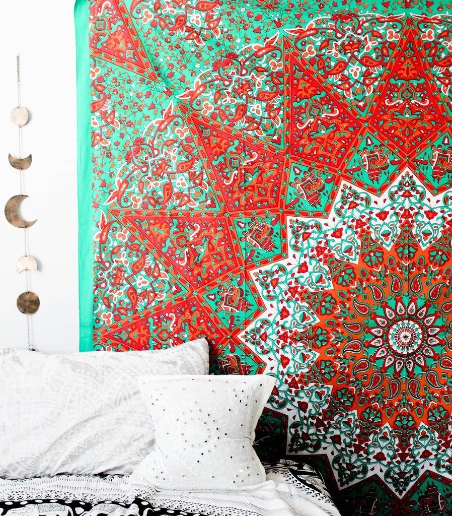 Wall Tapestry - Hanging MANDALA Tapestries – Bohemian Beach Picnic Blanket – Hippie Decorative & Psychedelic Dorm Decor - 92 x 82 Inch (Orange Queen) by Craft N Craft India